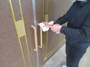 喜久田斎場では消毒の徹底を行っています